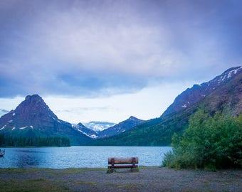 Lakeside: Glacier National Park Mountain Lake Nature Landscape Photograph Print for Decoration