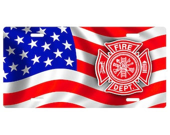 FIRE DEPT USA Flag Novelty Vanity Front License Plate 6 X 12 Inch
