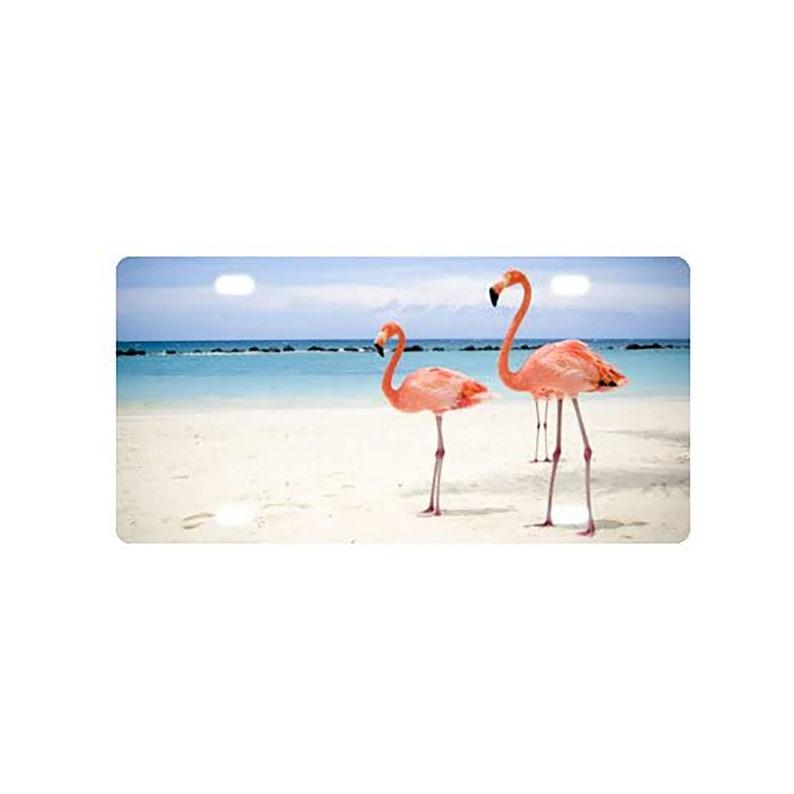 Flamingo In The Seashore Aluminum Novelty Vanity Metal License Plate 6  x 12