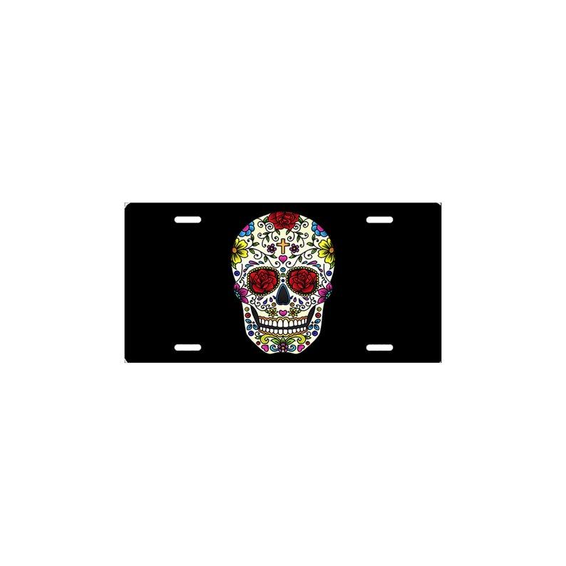 Sugar Skull Cross Aluminum Novelty Vanity Metal License Plate 6  x 12