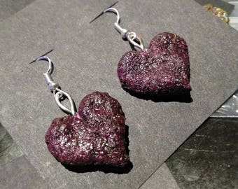 Love Buds Faux Cannabis Purple Nug Hearts Dangle Earrings