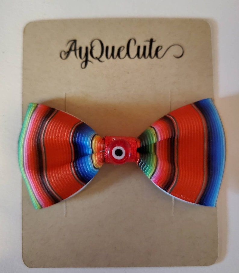 Rockabilly Hair Latina Hair Bow Mexican Blanket Toddler Hair Bow Mexican Blanket Baby Bow Red Serape Bow| Double Lined Prong Bow