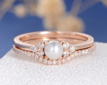 Pearl Engagement Ring Set Rose Gold Bridal Cluster Diamond Eternity Birthstone Antique Art Deco Women Anniversary Stacking Delicate 2pcs