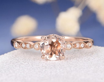 Morganite Engagement Ring Rose Gold Antique Art Deco Women Retro Unique Solitaire Wedding Bridal Anniversary Gift Diamond Unique Retro Ring