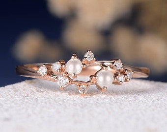 8e5574248481d9 Unique Akoya Pearl Engagement Ring Rose Gold Diamond Cluster Ring Twig Snowflake  Wedding Band Floral Flower Mini Anniversary Promise Women
