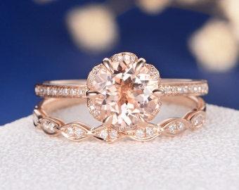 Flower Morganite Engagement Ring Rose Gold Unique Bridal Set Art Deco Wedding Band Dainty Antique Diamond Stacking Anniversary Retro 2pcs
