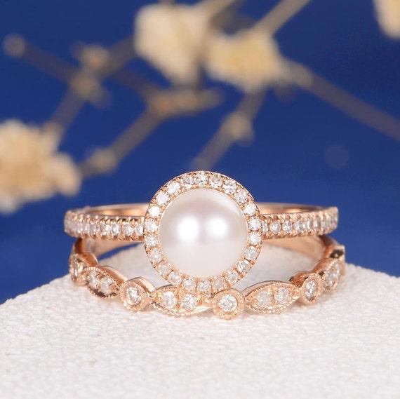 Pearl Wedding Rings: Akoya Pearl Engagement Ring Rose Gold Art Deco Wedding