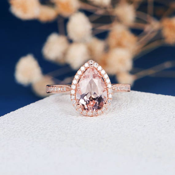 Pear Shape Peachy Pink Morganite Engagement Ring Rose Gold Etsy