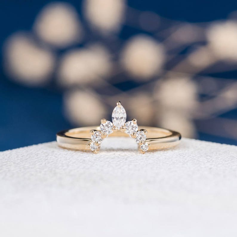 f34c88ace6c18 Curved Custom! Marquise Diamond Band Gold Unique Wedding Band Women Half  Halo Antique Stacking Curve Ring Anniversary Promise Engraving Gift
