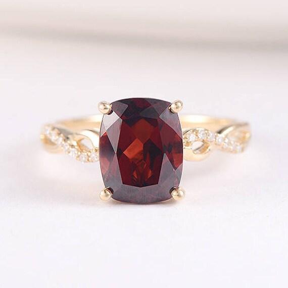 10k Rose Gold Cushion 2.75ct Garnet and Pave Diamond Halo Ring