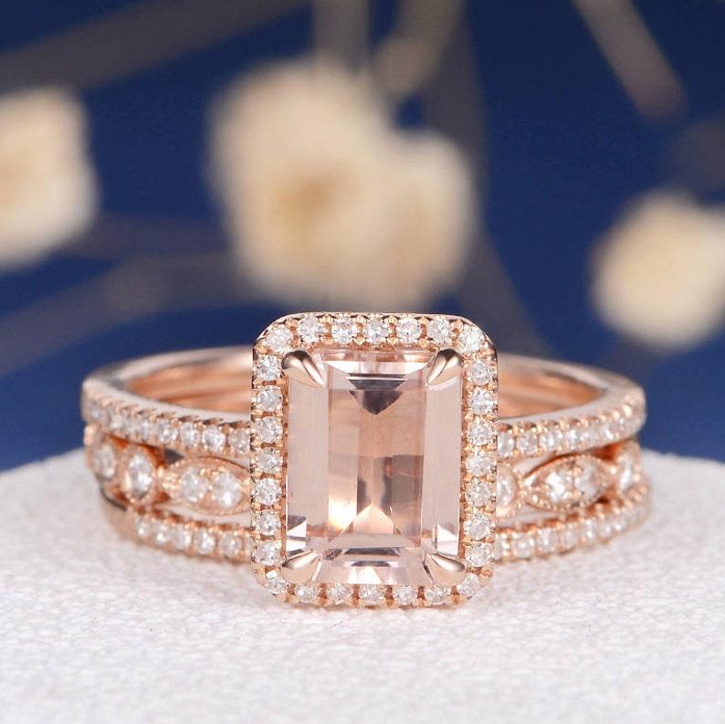 Morganite Wedding Set.Art Deco Morganite Wedding Set Emerald Cut Engagement Ring Rose Gold Bridal Dainty Diamond Eternity Band Halo Anniversary Minimalist 3pcs