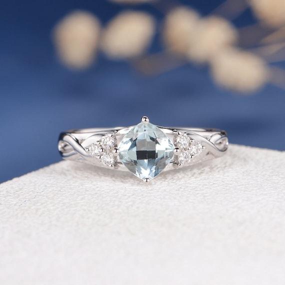 Aquamarine Engagement Ring White Gold Wedding Ring Unique Etsy