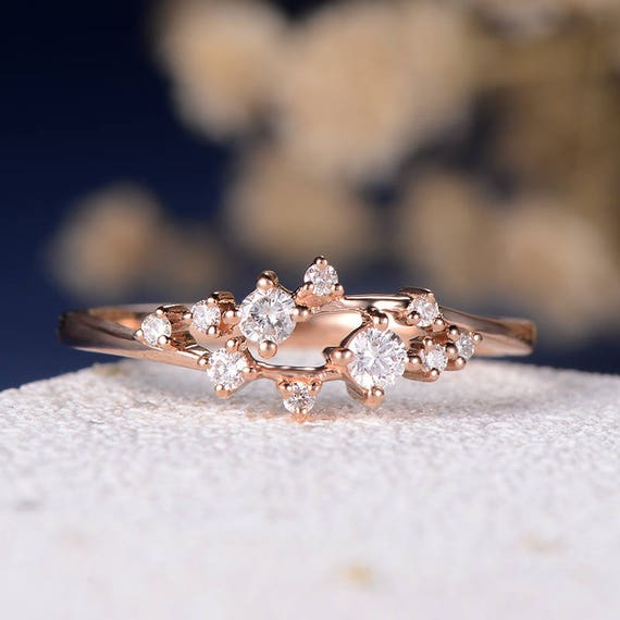 Engagement Ring Diamond Cluster Ring Twig Floral Unique Etsy