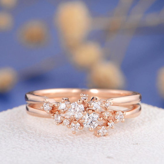 Round Mini Diamond Twig Floral Snowflake Ring 14K Rose Gold Finish Free Pendant