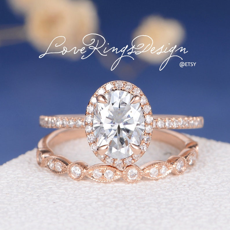 Moissanite Engagement Ring Set Rose Gold Bridal Sets Art Deco Etsy