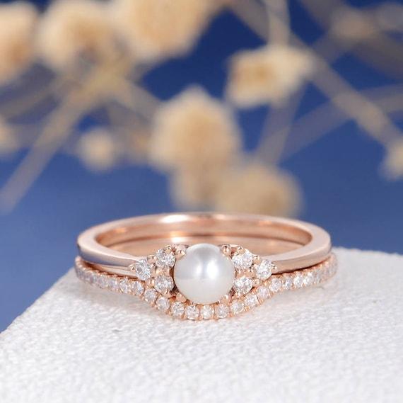Pearl Engagement Ring Set Rose Gold Bridal Cluster Diamond Etsy