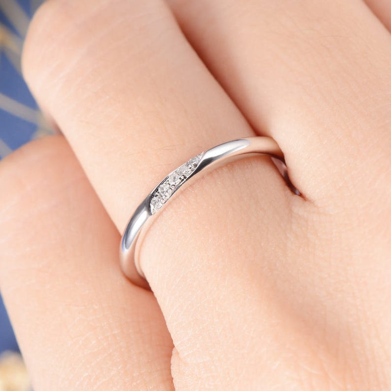 Wedding Band Diamond Wedding Ring Rose Gold Tiny Anniversary Minimalist Pave Engraving Matching Simple Bridal Stacking Ring Thin Gold Band