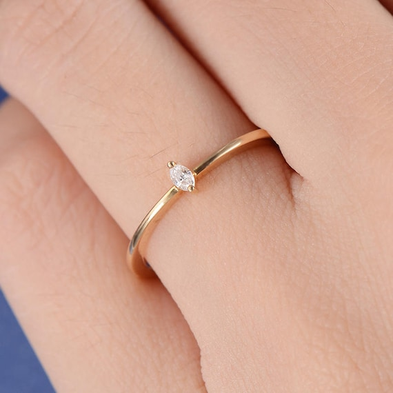 Marquise Diamond Ring Solitaire Engagement Ring Mini Thin Stacking Gold Wedding Bridal Simple Minimalist Petite Anniversary Promise Women