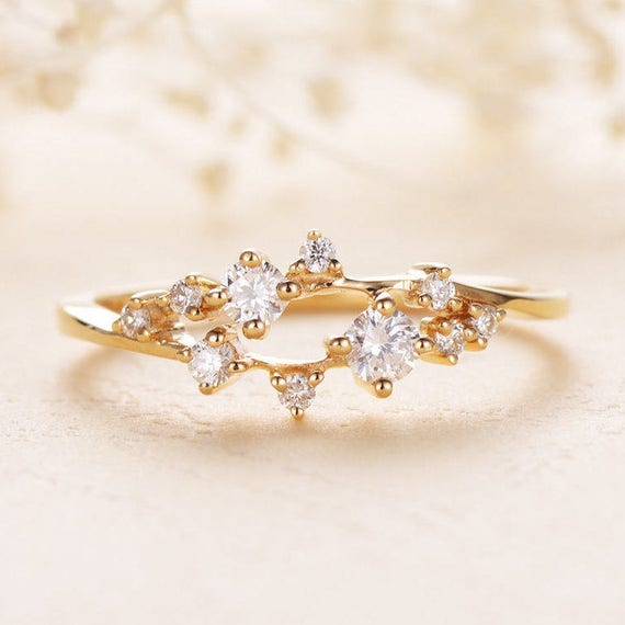 diamond cluster ring twig engagement ring floral unique etsy