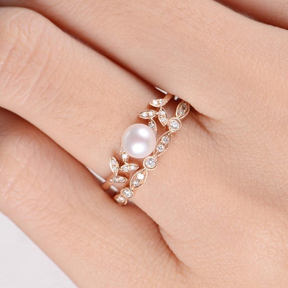 Pearl And Diamond Engagement Rings: Pearl Rose Gold Engagement Ring Set Flower Bridal Ring
