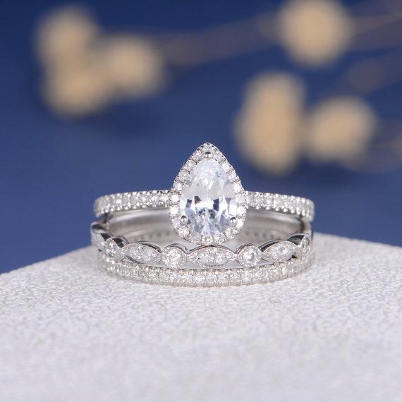 White Sapphire Bridal Set Pear Shaped Engagement Ring Diamond Etsy