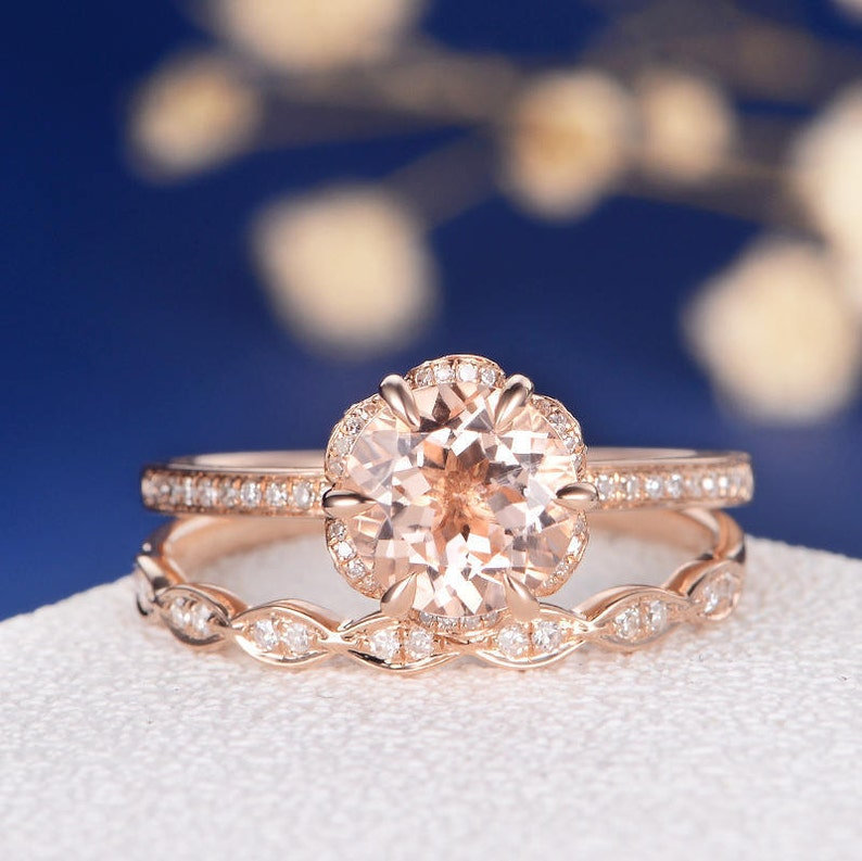 Flower Morganite Engagement Ring Rose Gold Unique Bridal Set image 0