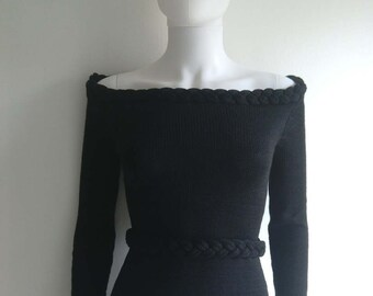 Black off shoulder pullover with pleated details and belt (size M in white ready to ship)