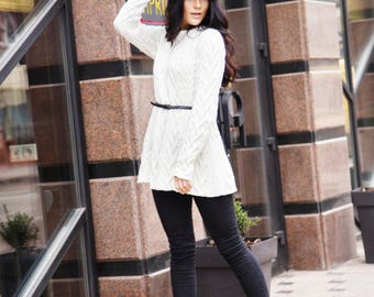 Sincerely Merely light beige flared cable-knit sweater