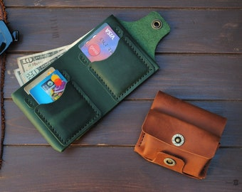 Personalized leather wallet for woman, Wallet with cion pocket