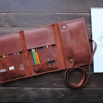 Leather pencil case - gifts for artists. Personalized gift ideas for painters.