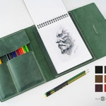 Leather A5 sketchbook cover -  personalized artists gifts. Green pencil case. Vertical notebook cover.