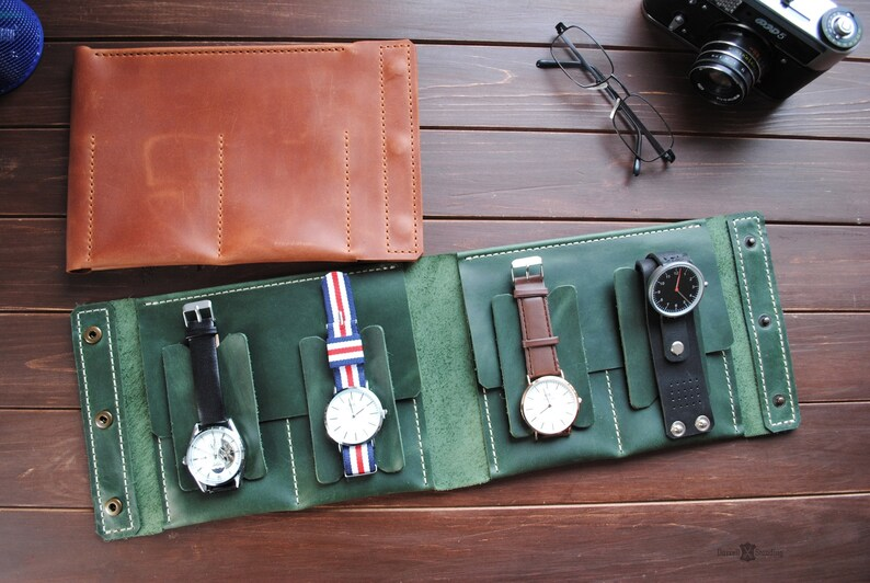 Pocket leather watch case Travel accessories Pouch watch image 0