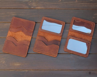 Personalized leather credit card wallet, front pocket wallet. Minimalist wallet. Leather card holder.