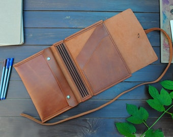 """Leather travelers notebook cover  - A5, 5.8x8.5"""",  Midori 4.25x8.25"""". Leather hand made journal cover"""