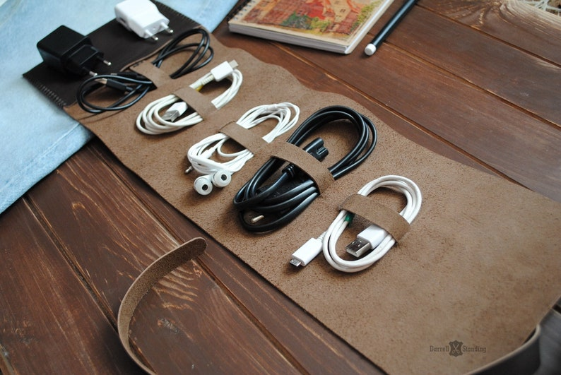 Travel accessories  cable organizer Leather cord organizer image 0