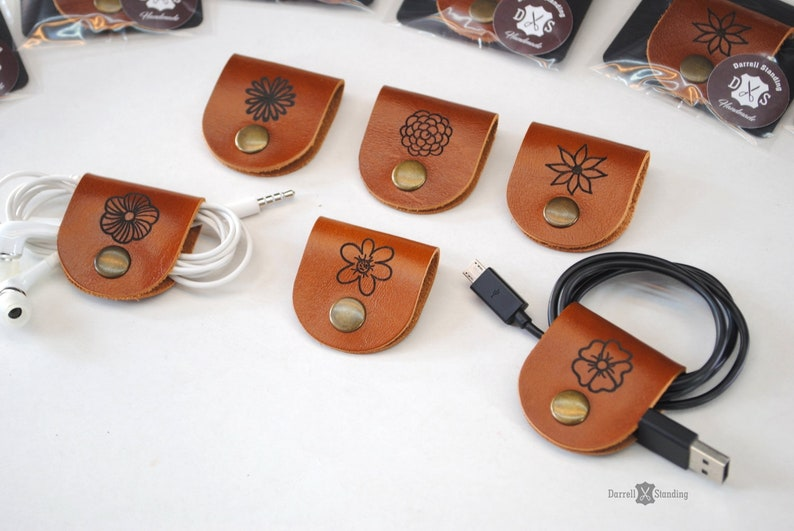Cable organizer cord keeper cord holder leather cable cord image 0
