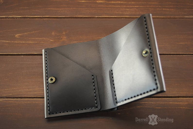 Simple brown leather wallet  small wallet for men's or image 0