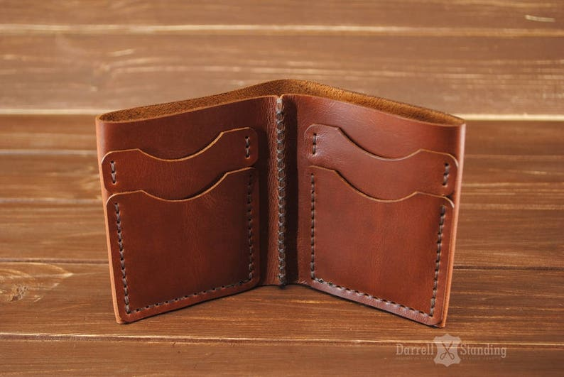 Small leather wallet Men's Leather wallet Bifold Brown image 0