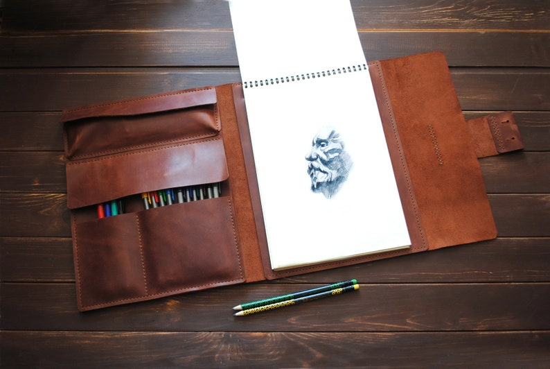Leather A4 sketchbook cover   personalized artists gifts. image 0