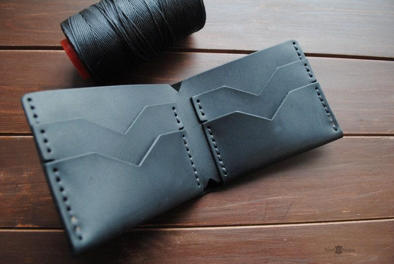 Handmade leather wallet green bifold personalized minimalist image 0