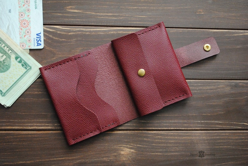 Small burgundy leather women's wallet image 0
