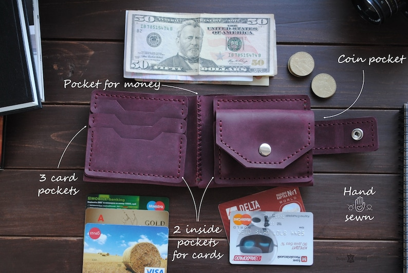 Purple wallet for women with pocket coin bifold wallet image 0