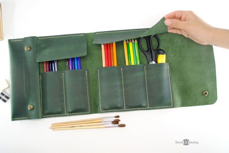 Leather brush case leather pencil case leather pen case image 0