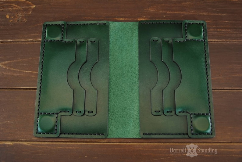 Green Travel passport holder Leather travel wallet Passport image 0