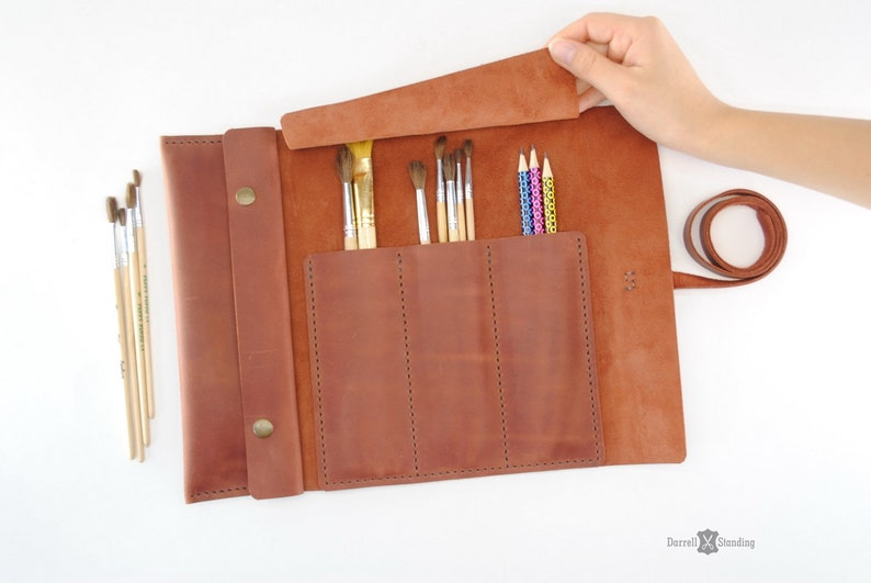 Leather case for brushes and pencils  gifts for artists image 0