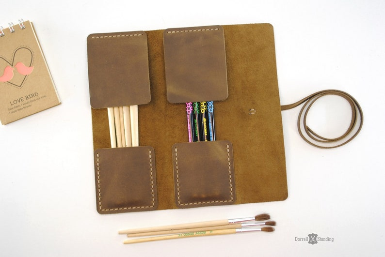 Leather brush case leather pencil case pen case gifts for image 0