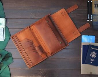 Leather travel 3 passports holder for family.  Family travel wallet, passport organizer