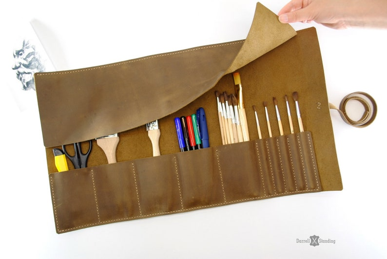 Leather roll / Artist roll  / Leather pencil roll / Leather image 0
