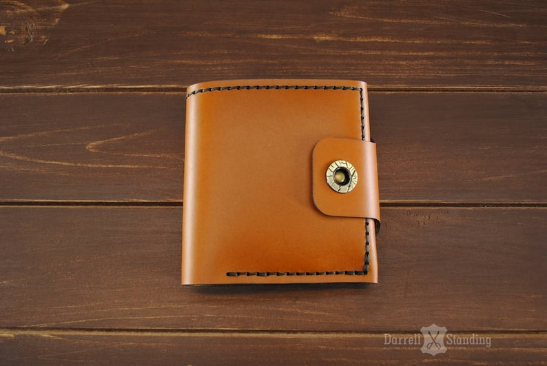 Womens leather wallet Orange leather Gift for her Genuine image 0