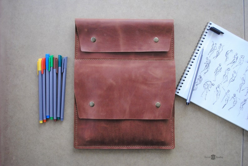 Leather A4 sketchbook case   personalized artists gifts image 0